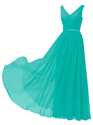 Alicepub V-Neck Chiffon Bridesmaid Dress Long Party Prom Evening Dress Sleeveless, Tiffany, US2