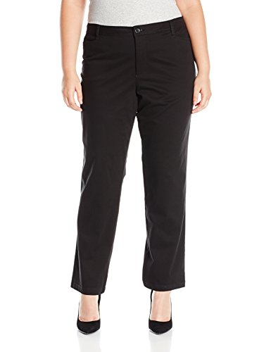 Riders by Lee Indigo Women's Plus-Size Straight Leg Casual Twill Pant, Black, 18W