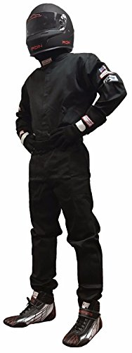RACERDIRECT.NET SFI 3.2A/1 Single Layer 1 Piece FR Cotton Suit JR Size 6/8 Black ()