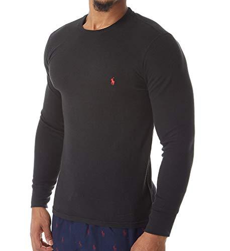 Polo Ralph Lauren Midweight Waffle Long Sleeve Crew Shirt (PWLCFR) L/Polo Black ()
