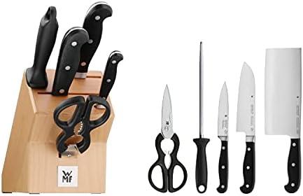 WMF Spitzenklasse Plus Juego de 3 Cuchillos con Afilador Chaira y Tijera con Soporte de Madera, Hoja de Acero Templado Completamente Forjado