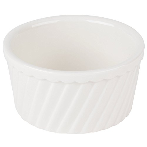 (TableTop King RKF-8-S 8 oz. Bone White Fluted Souffle Bowl - 36/Case)