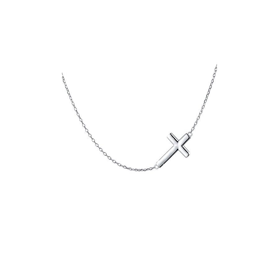 """S925 Sterling Silver Jewelry Sideways Cross Choker Necklace 15+3"""""""