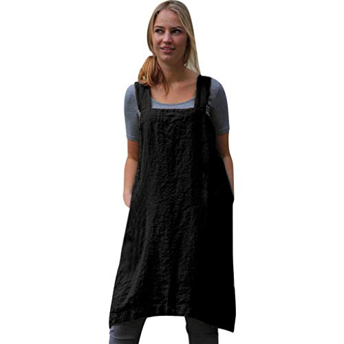 NRUTUP-Women New Linen Pinafore, Apron Square Cross Linen Garden Work Pinafore Apron Dress Japanese Style Black
