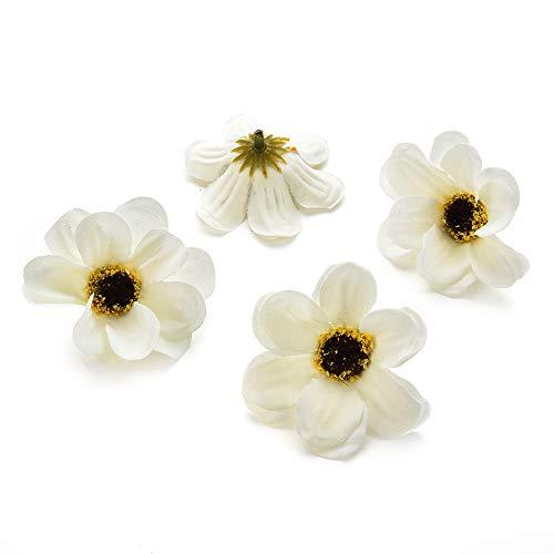 Silk flowers in bulk wholesale Fake Flowers Heads Mini Silk Sunflowers Artificial Flower Wedding Decoration DIY Wreath Clip Accessories Handmade Craft Flower Head 50pcs 5.5cm (White)