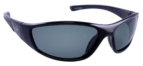 Sea Striker Pursuit Polarized Sunglasses with Black Frame and Grey Polarised Lens (Fits Medium to Large - Faces Sunglasses For Wide