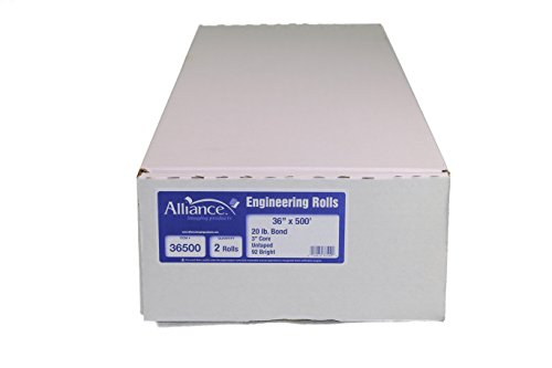 """2 Rolls 36"""" x 500' (36 inch x 500 foot) 20lb Bond Plotter Paper with 3"""" core. Product from Graphic Supplies Inc for use in Xerox, Ricoh, Oce, KIP, Savin, Gestetner, and Lanier wide-format engineering copiers."""