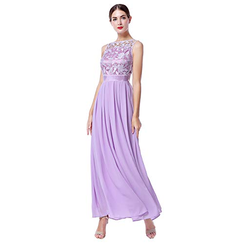 IWEMEK Women Retro Floral Lace Sleeveless Chiffon Dress Floor Length Evening Cocktail Swing Dress Formal Wedding Bridesmaid Party Dance Gown A Line Long Prom Maxi Dress Light Purple XX-Large