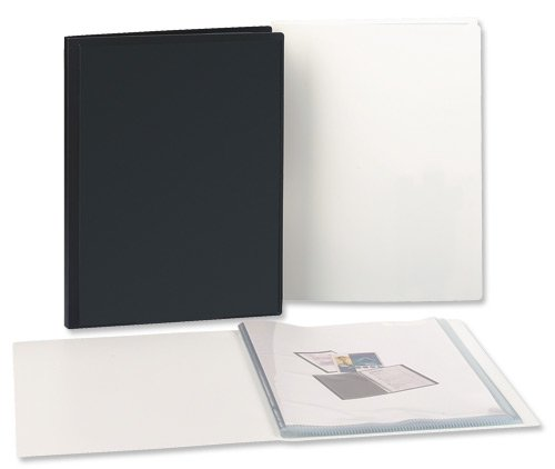 A QUALITY 5* BRANDED BLACK RIGID COVER A4 SIZE DISPLAY BOOK WITH 20 CLEAR DISPLAY POCKETS