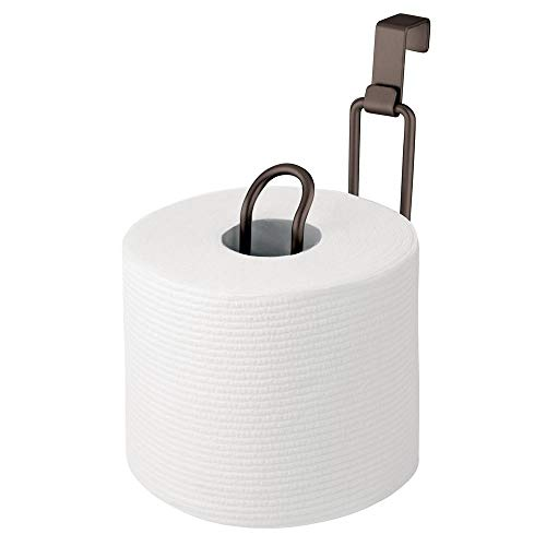 - mDesign Metal Over The Tank Toilet Tissue Paper Roll Holder Dispenser and Reserve for Bathroom Storage and Organization - Hanging, Holds 1 Roll - Bronze