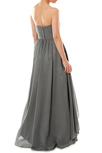 MACloth Women Strapless Chiffon Hi Lo Bridesmaid Dress Wedding Party Formal Gown Azul Real