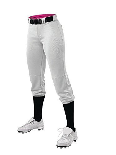 Alleson Athletic Girls Belted Speed Premium Fastpitch Pant, White, Large