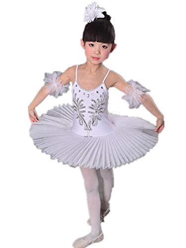 (WENDYWU Girls Swan Ballet Tutu Hard Organdy Platter Performance Leotard Dress (White-Kids, Age 6-8 (tag 140)))