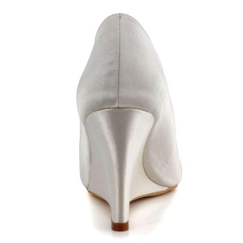 Eleganti Scarpe Da Donna Con Tacco Alto In Peep Toe In Raso Sera Da Sposa Cunei Da Sposa In Avorio