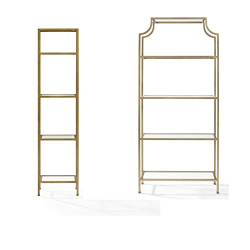 - Crosley Furniture Aimee 2 Piece Narrow Open Display Case Glass Bookcase Set in Antique Gold
