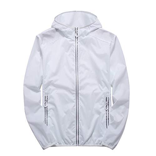 Londony Men's Lightweight Windbreaker Jacket Waterproof Hooded Outdoor Jackets Casual Outwear Shell Zip Rain Jacket White ()