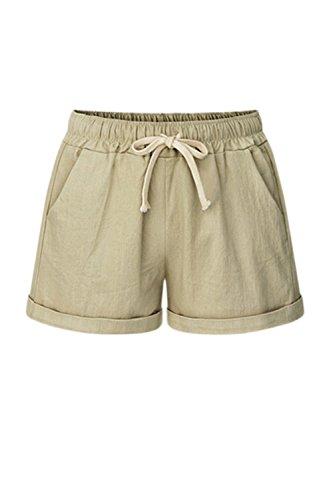 Di Pantaloncini Pantaloni Di Estate Donne Canapa Khaki Cordoncino I Occasionale Taglia Fasumava Corti wa4vxOSf