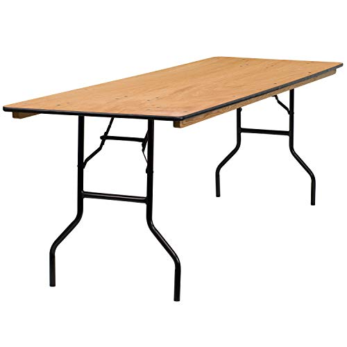 Flash Furniture 30 x 96 Rectangular Wood Folding Banquet Table with Clear Coated Finished Top