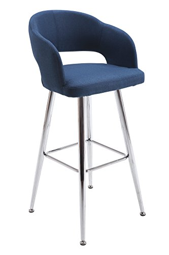 Vogue Furniture Direct Contemporary Blue fabric barstool with chromed legs VF1681001 (Paris Dining Stool)