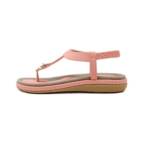 Zapatos Bajos Sandalias Planas Flip Toe de Rosa Peep Sandalias de Flops Mujeres Las Zapatos Señoras Bohemia Verano wzTqFPvP