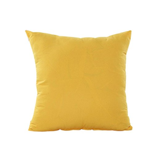 Solid Color Pillowcase, Leyorie Home Decor Pillow Case Cotton Linen Cushion Cover with Zipper (Yellow) ()