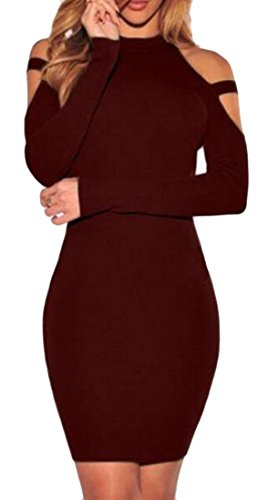 Womens Cromoncent Red Dress Wine Long Pencil Sleeve Solid Shoulder Cut Midi Out AR1rRdq