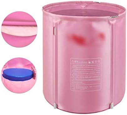 浴槽家庭用浴槽全身浴槽折りたたみ式浴槽大人と子供の断熱浴槽折りたたみ式全身浴槽便利な収納 浴室用設備 (Color : Pink, Size : 58*68cm)