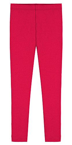 Popular Little Girl's Cotton Ankle Length Leggings - Hot Pink - 6 -