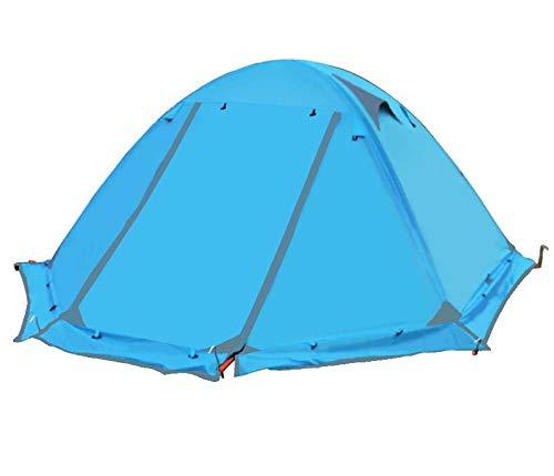 LYAA Tente Camping Camping Tente Double Double Pôle Aluminium Camping Tourisme Anti-Tempête,bleu  -