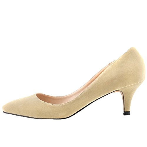 Kitten Lavoro Beige Slip Scamosciata Pelle Candy A Donna Punta Colore In Hooh Pompa n1wvz7qY