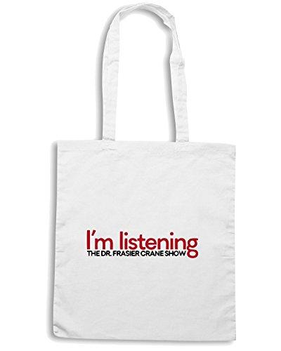 T-Shirtshock - Bolsa para la compra OLDENG00127 im listening Blanco