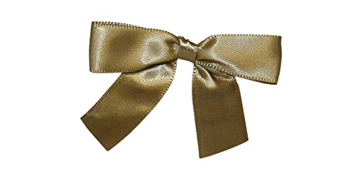 - Reliant Ribbon Satin Twist Tie Bows - Small Ribbon, 5/8 Inch X 100 Pieces, Antique Gold