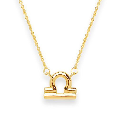 Sterling Forever Women?s Zodiac Necklace - Zodiac Sign Necklace, Gold Plated (Libra)