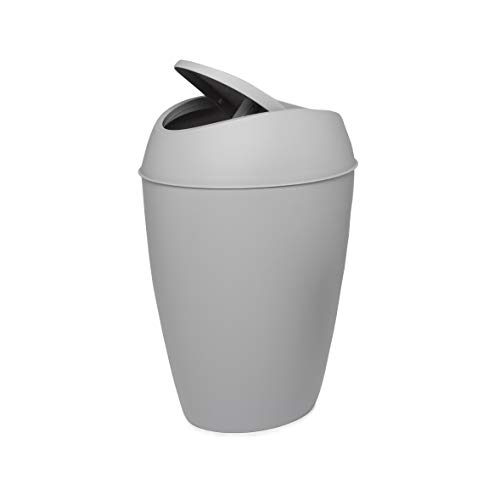 - Umbra Twirla, 2.2 Gallon Trash Can with Swing-top Lid, Gray