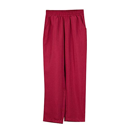 ANJUNIE Women Fashion High Waist Loose Comfortable Long Trousers Pants(Wine,L) ()