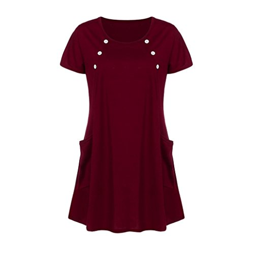 AmyDong Ladies Dress Lady's Skirt Women Loose Pocket Casual O Neck Button Short Sleeve Mini Dress Leisure Relaxed Polyester (XL, Wine)