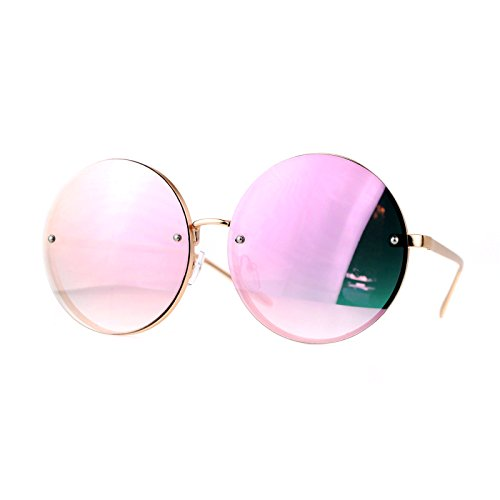 Round Hippie Sunglasses (SA106 Unique Rimless Oversized Hippie Round Circle Lens Sunglasses)