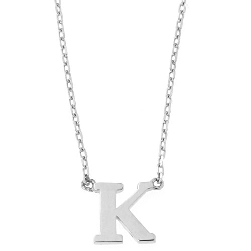 14k White Gold Tiny Initial Pendant 16'' Necklace - K by Beauniq