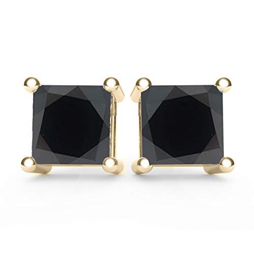 Frostrox 14K Yellow Gold 0.40 Carat Princess Cut Color Enhanced Black (AAA Quality) Diamond Classic Stud Earrings (Enhanced Yellow Gold Diamond)