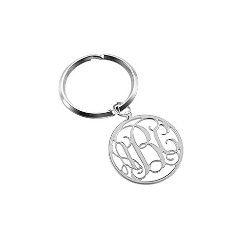 Ouslier 925 Sterling Silver Personalized Monogram Key Chain Custom Made with 3 Initials (Silver) (Best Three Person Halloween Costumes)