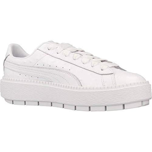 white Blanco Con Ostrich Cordón Trace Puma Platform Zapatos Mujer x4HUUg