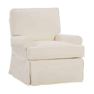 Kayla Fabric Slipcovered Swivel Glider Accent Chair With Off White Cotton Twill Washable Slipcover