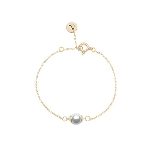 Jeanne's Jewels Womens 925 Sterling Silver Aria Freshwater Pearl Charm Bracelet, Adjustable Size, Stackable, 8mm (Yellow Gold)