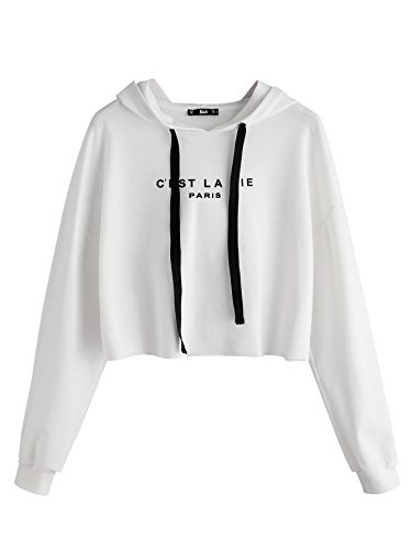 (SweatyRocks Women's Long Sleeve Letters Printed Pullover Crop Hooded Sweatshirt White S)