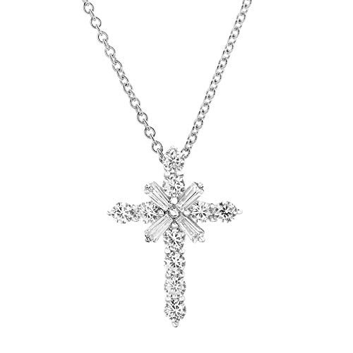 Baguette Cross - MIA SARINE Round and Baguette Shaped Cubic Zirconia Starburst Cross Pendant Necklace for Women in Rhodium Plated 925 Sterling Silver