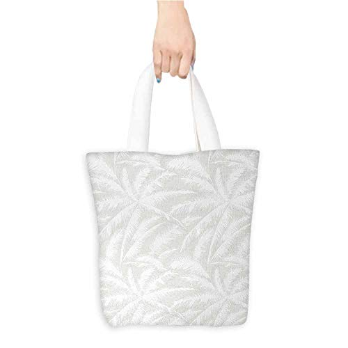 - Shopping work bag,Abstract,Sketchy Palm Leaves Jungle Foliage Tropical Eco Exotic Branch Artsy Design,Fits in Pocket Waterproof & Lightweight,Green and White