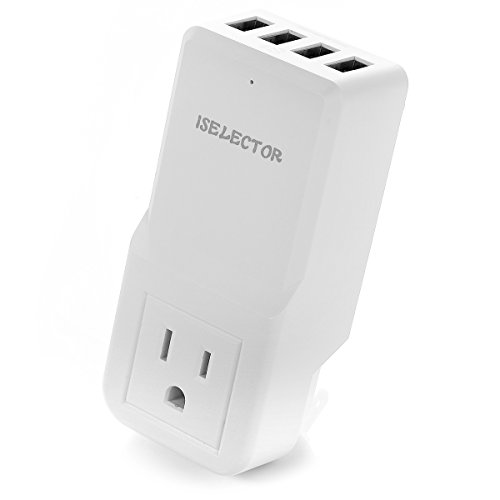 ISelector 4 Port USB Travel Wall Charger with AC Plug Adapter, White