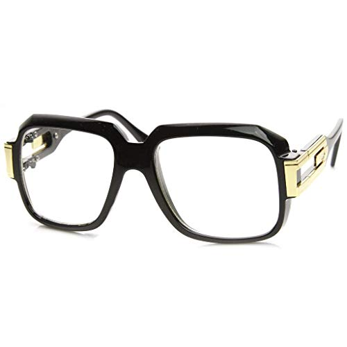 MLC Eyewear Oversized Rectangular Hip Hop Nerdy Black and Gold Clear Lens Glasses]()