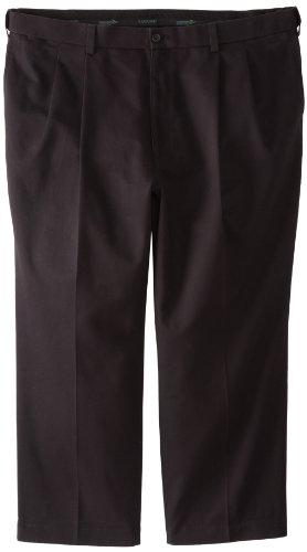Savane Men's Big & Tall No Iron Comfort Waist Pleat Front Performance Chino, Black, 54x32 (Comfort Chino)