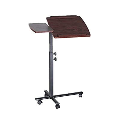 BTEXPERT® Premium Height & Angle Adjustable Mobile Computer Laptop Desk rolling Tray Cart Cherry Over Bed Hospital Table Stand